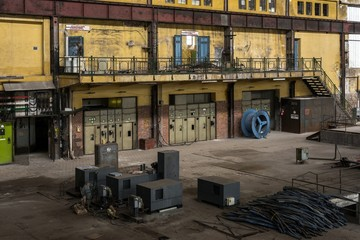 Fototapete - Electricity distribution hall in metal industry