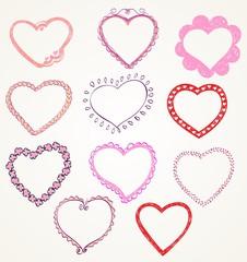 Heart designs for valentine's day. Set of frames.