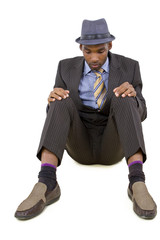 young black businessman stressed or depressed about failure