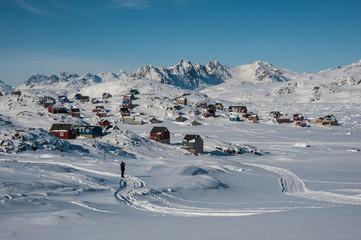 Kulusuk in a snowy winter landscape, Greenland