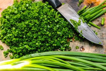 Chopping spring onions