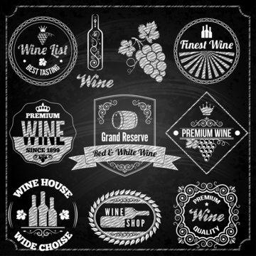 wine set elements chalkboard