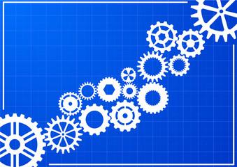 blueprint with cogwheels