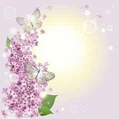floral background with butterflies and a lilac