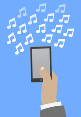 Smartphone in hand music