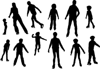 figure skater silhouettes isolated on white