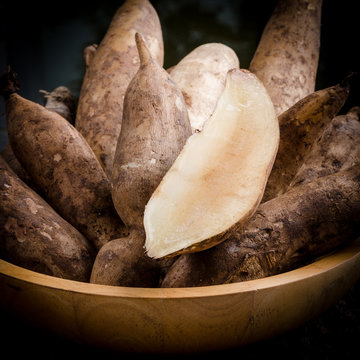 Yacon roots on a bowl
