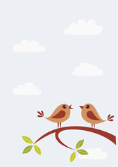 Two birds on branch speaking. Copy space.