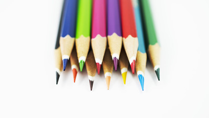 Closeup of color pencil mixed Isolated background stock photo