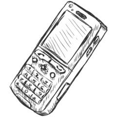 vector sketch illustration - mobile phone