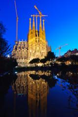 Sagrada Família at dusk in Barcelona, Spain