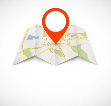 Navigation map with red pin