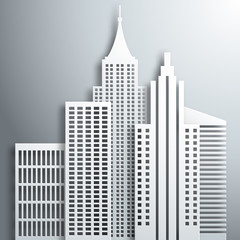 Abstract 3D Paper  White Skyscrapers