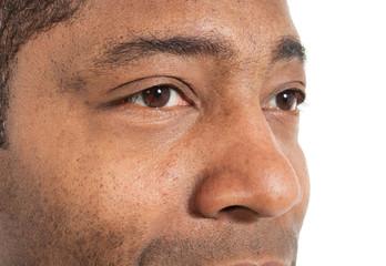 closeup of black man on white background