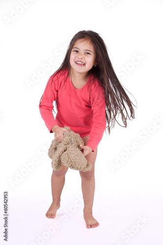 petite fille au r veil avec son ours en peluche photo. Black Bedroom Furniture Sets. Home Design Ideas