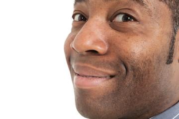 closeup black man of africa, detail face