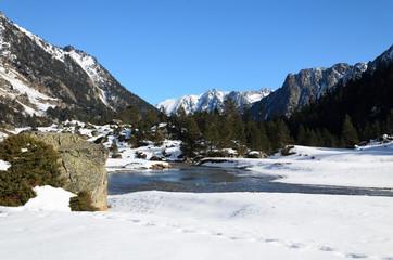 Marcadau valley in winter Pyrenees
