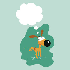 Vector illustration dog urinating with call out