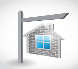 home real estate sign illustration design