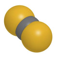 Carbon disulfide (CS2) molecule. Liquid used for fumigation.