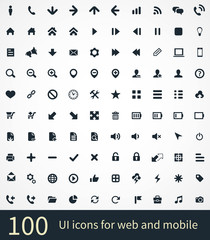 100 UI Outline Icons For Web and Mobile