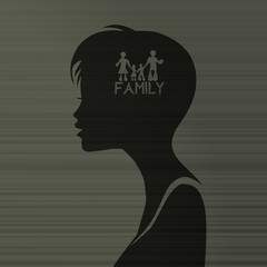 woman silhouette with family inside