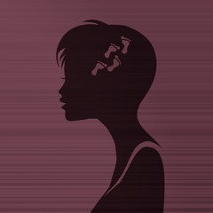 woman silhouette with footprint inside