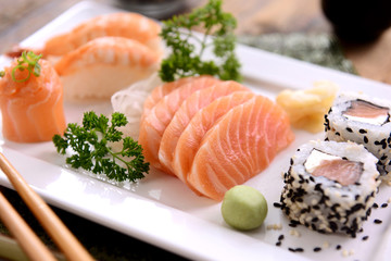Salmon and sushi