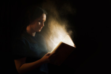 Reading a glowing book