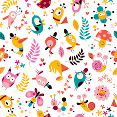 flowers, birds, mushrooms & snails characters nature pattern