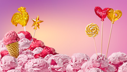 Poster Candy pink sweet magical landscape of ice cream and candy