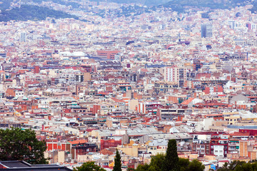 Top view of  Barcelona from Montjuic