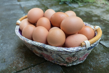 Brown eggs in a Sweet Flower Basket
