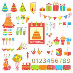 Set of vector birthday elements