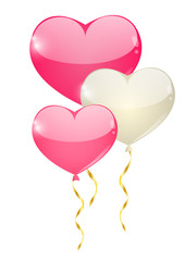 Heart balloons with golden ribbons