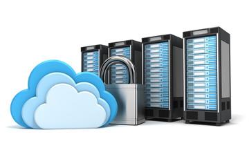 4 gesicherte Cloud Computing Server, verschlüsselt