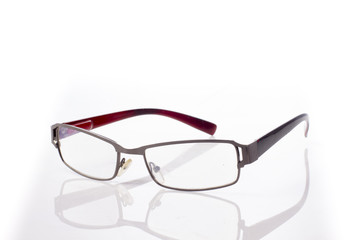 Black red eye Glasses Isolated on White