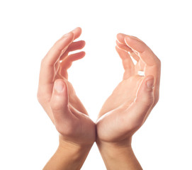 Two human hands showing sphere on white background