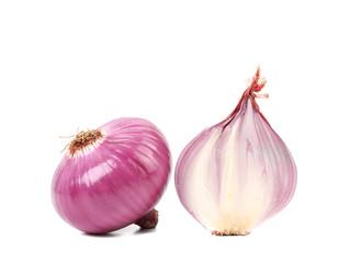 Red onion bulbs and half.