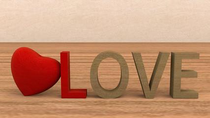 Love heart romantic wood
