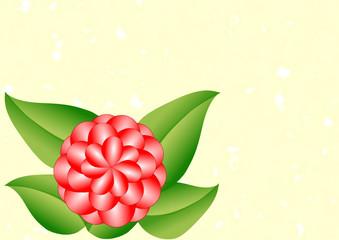 Karte rote Dahlie mit grünen Blättern