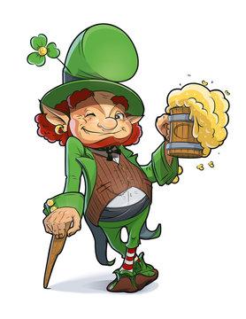 Dwarf with beer. Illustration for saint Patricks day. Eps10