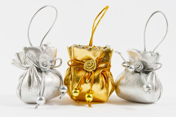 Gold bag and Silver bag on white background