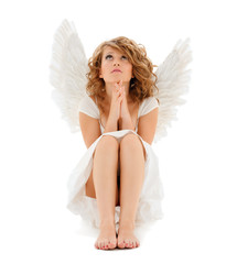 praying teenage angel girl
