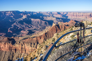 Grand Canyon and camera on tripod