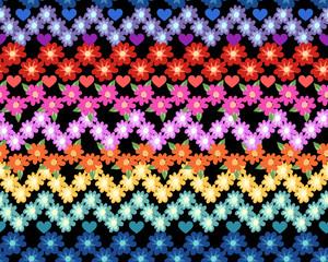 cute rainbow flower zigzag ~ seamless pattern