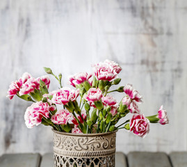 Bouquet of carnation flowers. Copy space