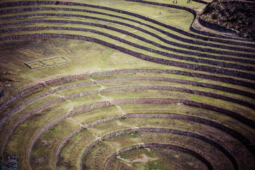 Peru, Moray, ancient Inca circular terraces.