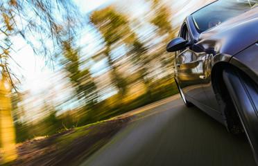 Fototapete - Car speeding in forest.
