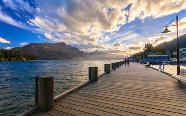 Printed kitchen splashbacks City on the water Wooden pier at lake Wakatipu, Queenstown, New Zealand